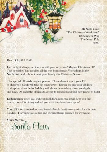 Arrival letter for our elves on a shelf!