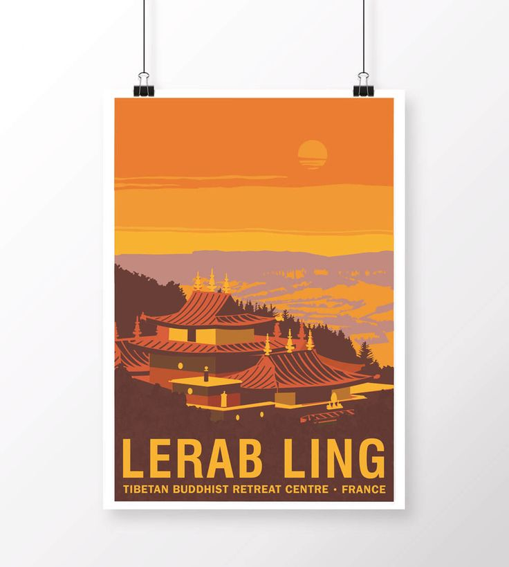 Lerab Ling Temple Poster by samuelhorwooddesign on Etsy