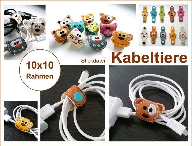 ♥ 10 Stickdateien Kabeltiere * 10x10 Rahmen ♥ von StoffCut auf DaWanda.com