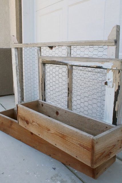 Old Windows, Chicken Wire, Planter Boxes for spring planting...
