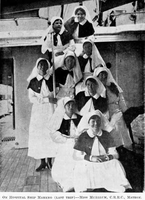 NZ WWI nurses aboard the hospital ship SS Maheno.