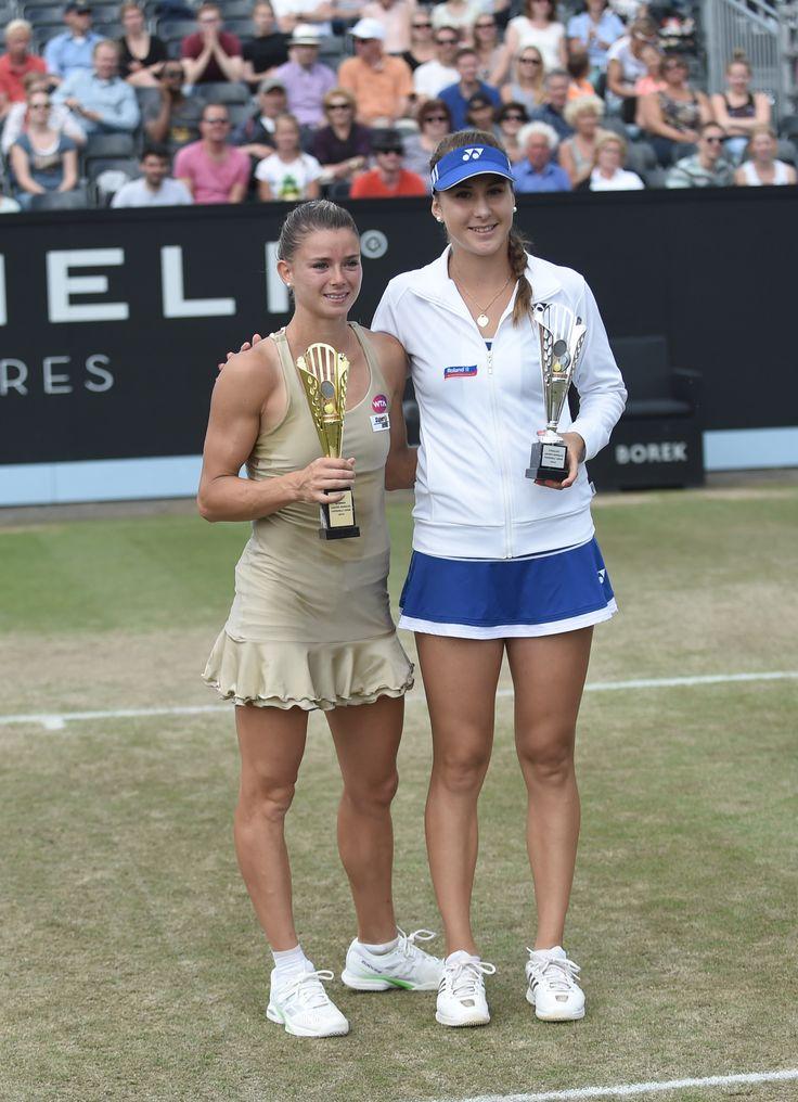 De finalisten Camila Giorgi en Belinda Bencic. Giorgi won de finale van Topshelf Open met 7-5 6-3.