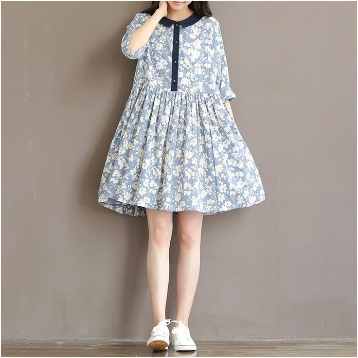 Women printed loose cotton dresses- Buykud -