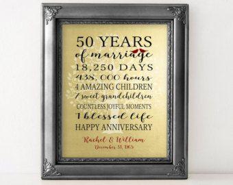 50th Anniversary Gift Golden Anniversary 50 by PrintsbyChristine