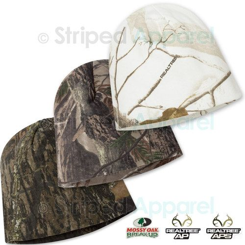 "Realtree AP, Mossy Oak, Snow Camouflage Beanie 8"" Hunting Camo Knit Cap"