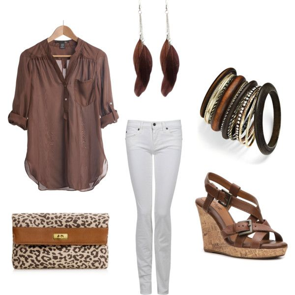 Love brown!, created by totuguita on Polyvore: Shoes, Fall Clothing, Cheetahs, Feathers Earrings, White Skinny Jeans, Dream Closet, Clutches, Brown Outfit, White Jeans
