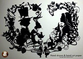Alice In Wonderland - hand drawn, handcut original by PaperPandaCuts
