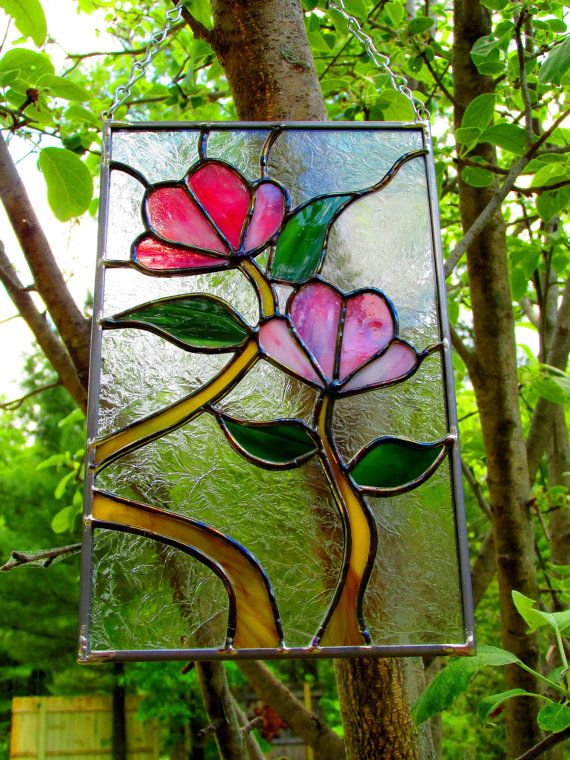 Pink Flower Stained Glass by StayCsStainedGlass on Etsy