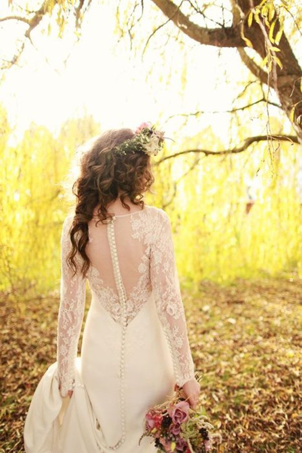 Amazing lace wedding dress with long sleeves, great for fall weddings! | http://www.weddingpartyapp.com/blog/2014/09/02/45-long-sleeved-wedding-dresses-for-fall-brides/