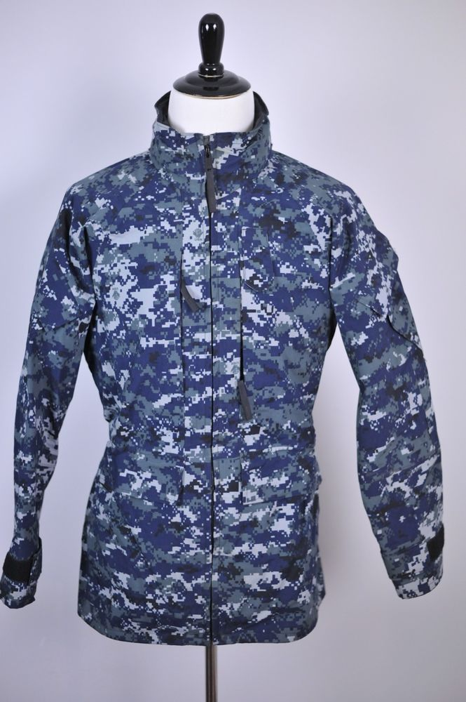 U S Navy Working Parka Nwu Gore Tex Jacket Blue Digital Camo Small Long Jackets Digital Camo Gore Tex Jacket