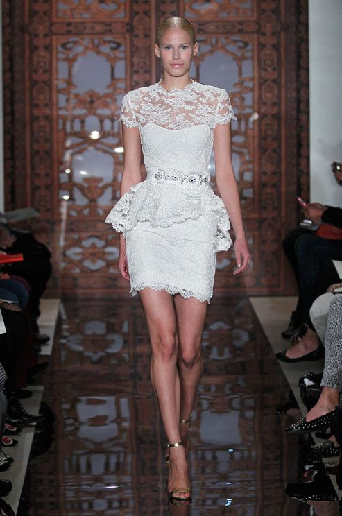 Short lace wedding from Reem Acra, Fall 2013