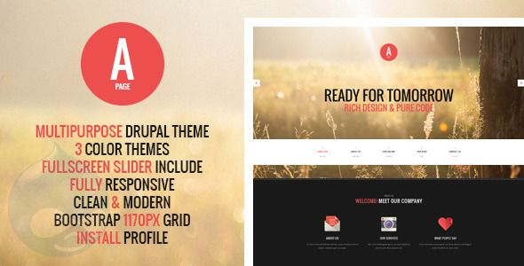 Check out APage – Flat Onepage & Multipage Drupal Theme. Premium Bootstrap Template @bootstrapstage