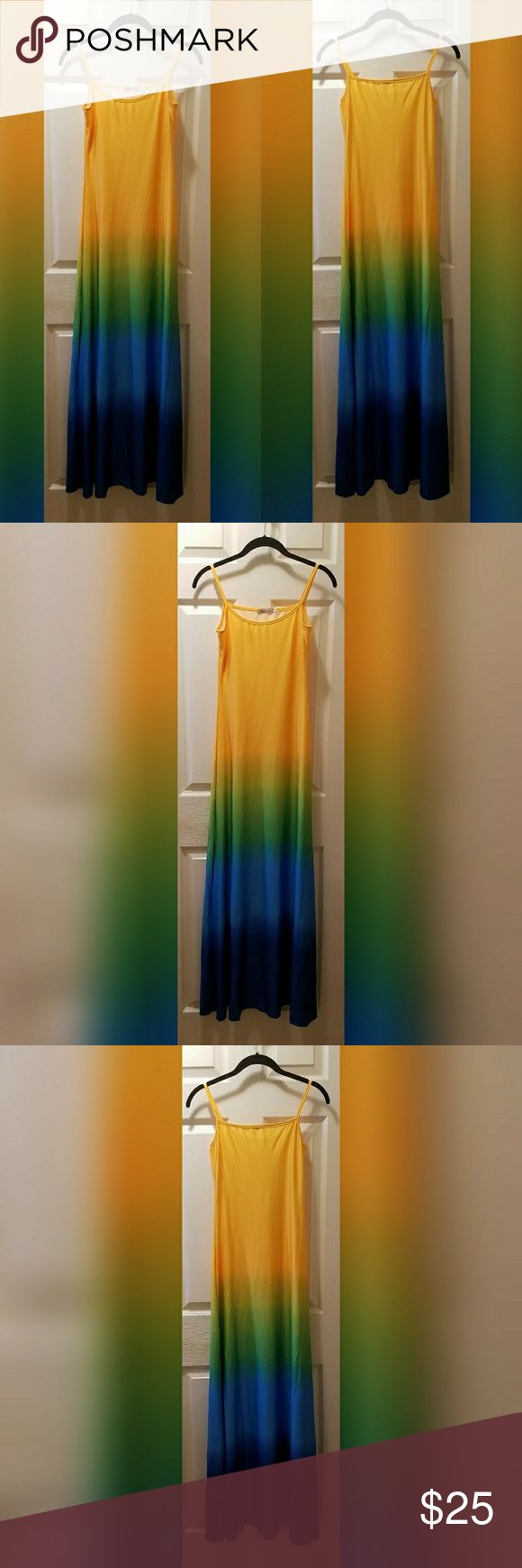 NWOT Tie Dye Maxi Dress NWOT cute maxi dress in yellow, green, and blue tie dye design. Says size S but fits like an XS. Dresses Maxi