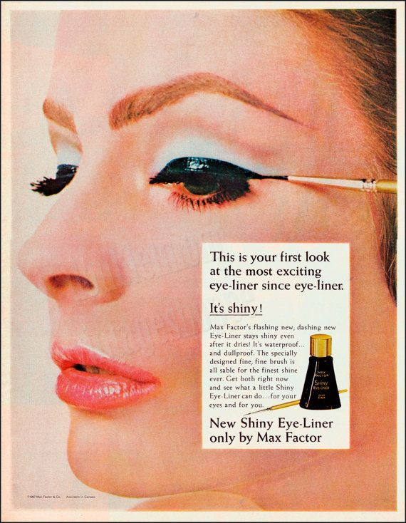 MAX FACTOR EYELINER Vintage Ad 1967 // Retro Make-up Ad