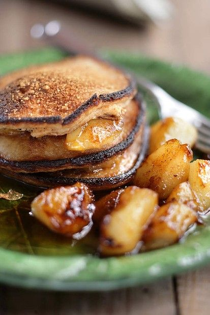 Stephanie Alexander's pear pancakes with cinnamon sugar and maple syrup.