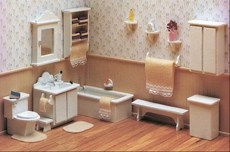 Model  Pcs Wooden Doll House Bathroom Set Miniature Furniture Kids Play Toy