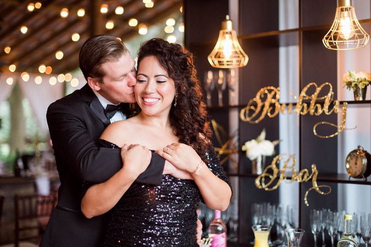 The Bubbly Bar. A great way to mix things up at a wedding reception. A Glam New Year's Eve Wedding at Buckingham Farms in Fort Myers, FL https://www.thecelebrationsociety.com/weddings/glam-new-years-eve-wedding-buckingham-farms-fort-myers-fl/ #weddings