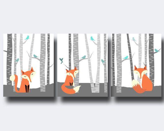 Fox Nursery Wall Art Print Nursery Art Print Fox and by HopAndPop, $28.00