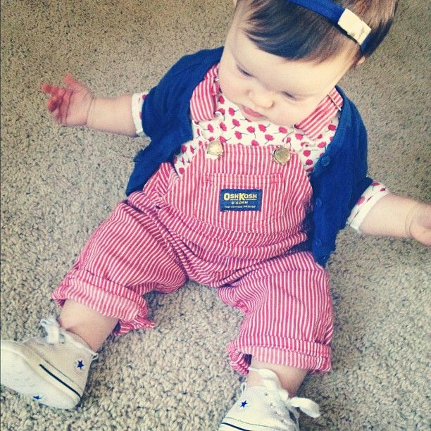 """tips-for-dressing-a-stylish-baby-girl, put baby in clothes that are still cute that you wouldn't without being """"cutesy baby"""" by pairing things to still make them stylish"""