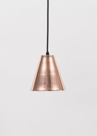 Copper triangle pendant light Made by Douglas and Bec