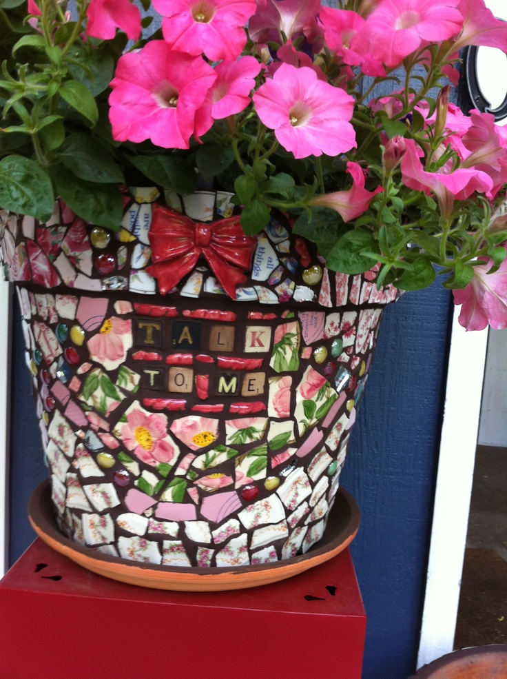 One Of My Mosaic Flower Pots.