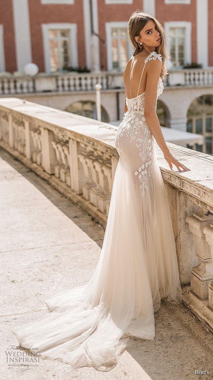 berta 2019 privee bridal long sheer sleeves spaghetti strap sweetheart neckline …