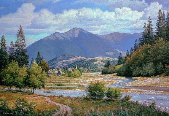 Summer Mountain Landscape Oil Painting Realism Oil Painting Large Canvas Art Original Large Painting Mounta Mountain Landscape Landscape Oil Painting Landscape