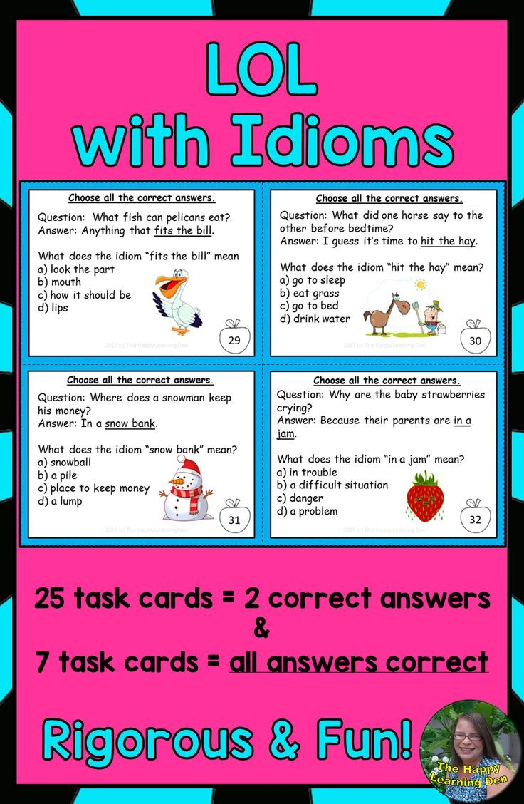 Idioms Task Cards Task Cards Learning Math Idioms [ 1128 x 736 Pixel ]