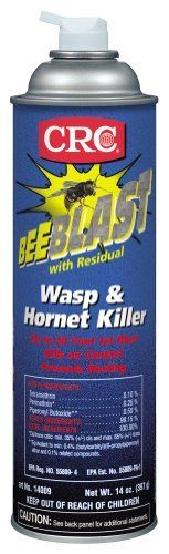 CRC Bee Blast with Residual Wasp and Hornet Killer by CRC. $10.23. Flammable. Now with residual action that kills wasps and hornets returning to the nest. Knocks down and kills on contact. Instantly saturates insects and their nests with a 22? jet blast. This item is not for sale in Catalina Island. CRC 14009 Bee Blast Wasp & Hornet Spray 20 Oz Aerosol Can