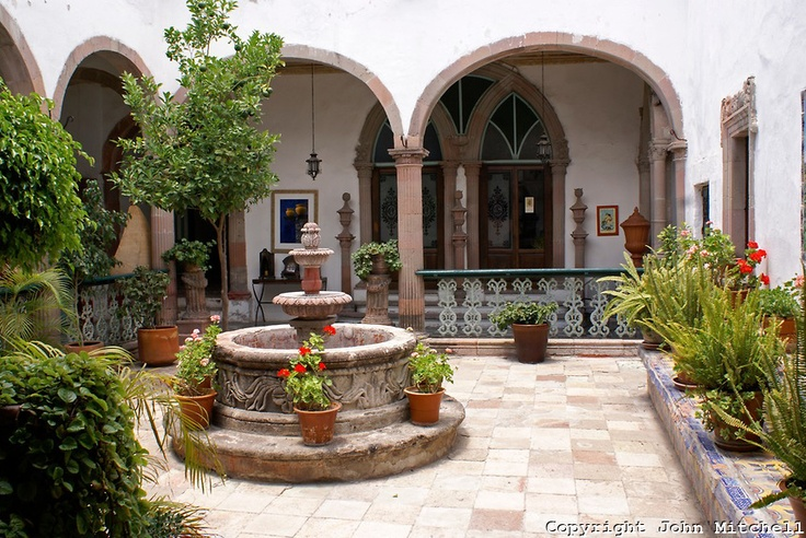 Interior courtyard of a spanish colonial house in san for Spanish style fountains for sale