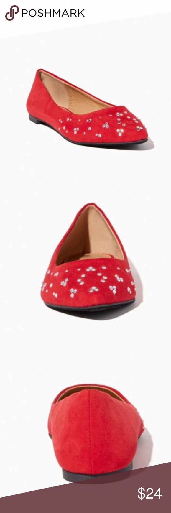 """Candy Apple Red Gem Cluster Fancy Ballet Flats MEASUREMENTS: 1/8"""" heel height MATERIALS: faux suede & rhinestone upper, man-made lining, man-made sole. Only selling because too small on me. Sorry for stock photo. I am awaiting surgery. And am not home to take a pic. 31517 Charming Charlie Shoes Flats & Loafers"""