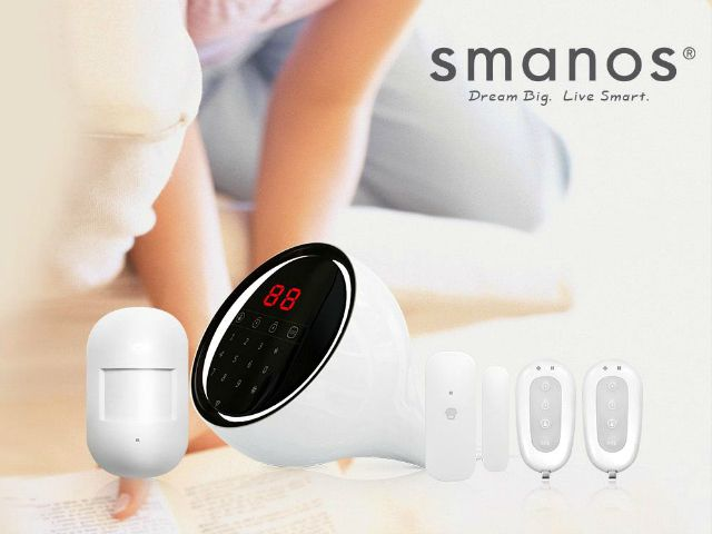 Smanos W100 Dual Network Touch Screen Alarm - The Smanos W100 is a dual-network, Wi-Fi/PSTN friendly alarm system, with very simple wireless setup and elegant touch screen controls. GetdatGadget.com/smanos-w100-dual-network-touch-screen-alarm/