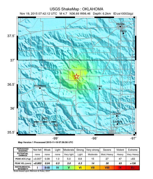 The United States Geological Survey is reporting the earthquake is a 4.7 magnitude. It was centered near Cherokee, Oklahoma.