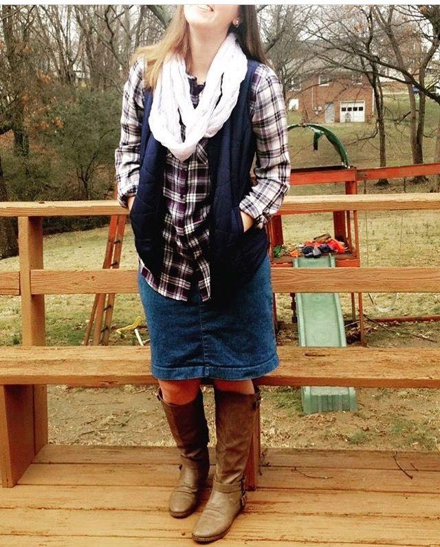 Modest Winter outfit. Plaid shirt, vest, scarf.
