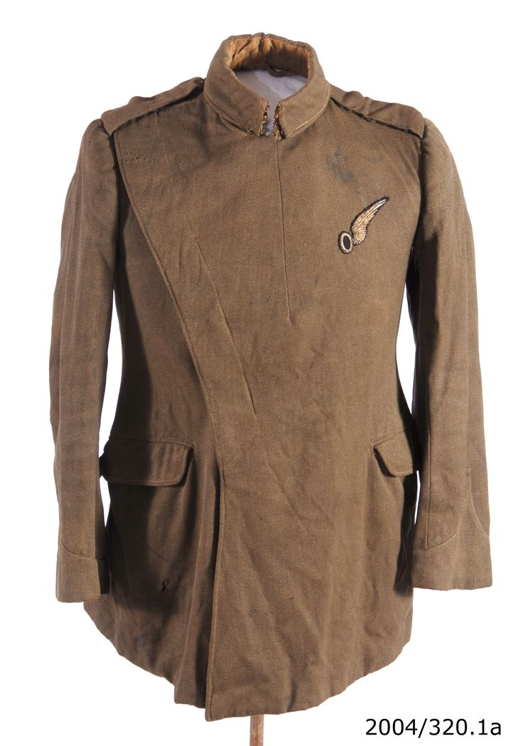 Royal Flying Corps 'Maternity' type field service dress jacket, worn by Eric Percival Croll, circa WWI. From the collection of the Air Force Museum of New Zealand.