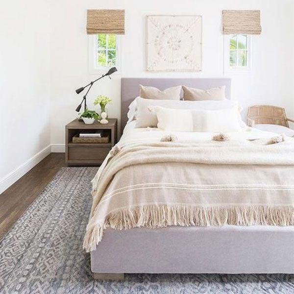 Stunning Neutral Bedroom With A Beige Fringe Throw Blanket Interiordesign Fringe Beige Bedroom Decor Bedding Master Bedroom Simple Bedroom