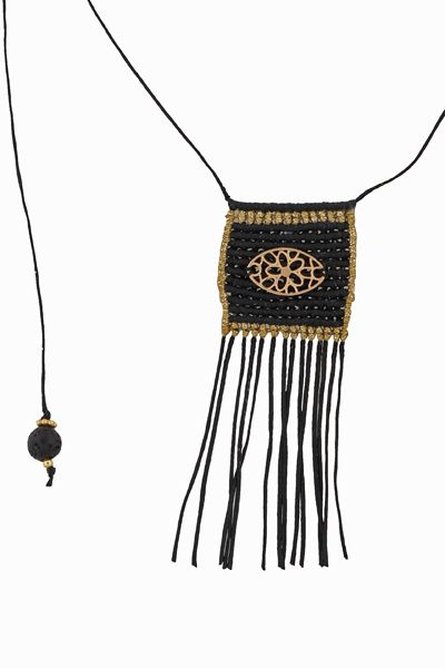 Handmade jewelry, gold plated silver macrame necklace with length fluctuations, made from wax string with macrame ending and black lava 6mm with gold plated silver at the ends of the wax string. The necklace completes a square knitted pendant 30x30mm with a gold plated silver decorative motif 20x10mm @ http://www.theodorajewellery.com/jewel/en/2024/ Price 28€