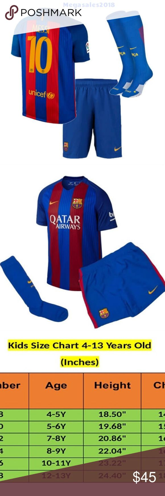 Messi Barcelona Home  Kids WITH SOCKS  /2016-17 Messi Barcelona Home Kids WITH SOCKS  /2016-17  Brand New With Tags     Worn during 2016-17 season     Suitable for Kids - Available in Multiple Sizes     Money-back Satisfaction Guarantee  **** DELIVERY  TIME 5-7 DAYS ****** Other