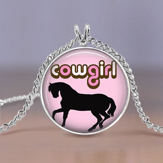 Jewelry  Cowgirl Horse Rodeo Pink Pendant  by MaDGreenCreations, $7.49