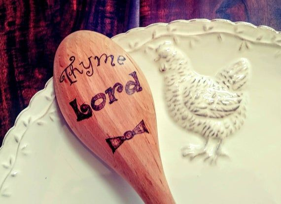 Thyme Lord Doctor Who inspired kitchen time lord wooden spoon The Doctor gift nerd geek wedding coll