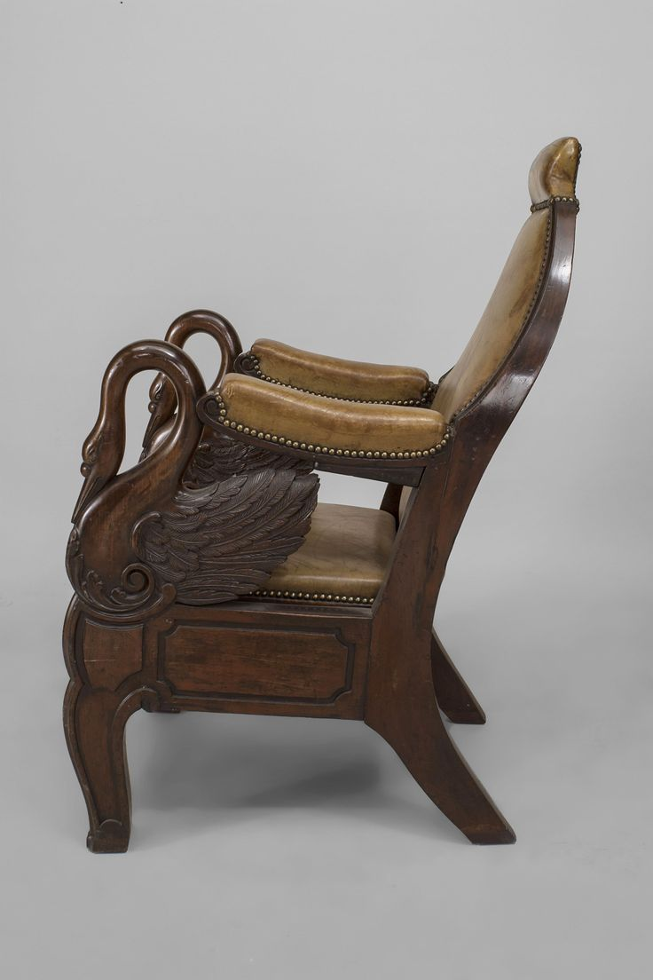 Marvelous English Regency Carved Mahogany Swan Design Arm Chair