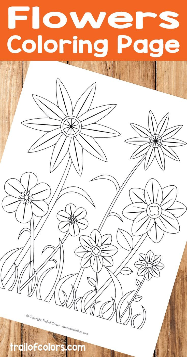 Simple Flower Coloring Page For Kids Trail Of Colors Fruit Coloring Pages Flower Coloring Pages Spring Coloring Pages