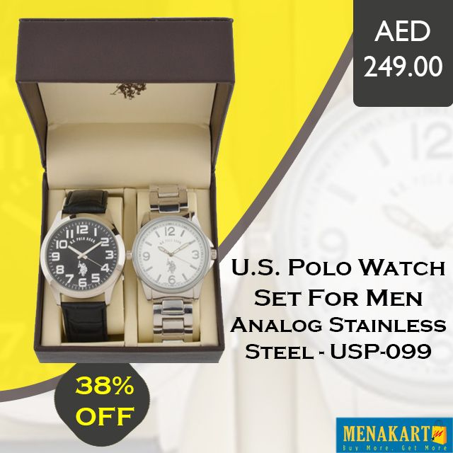 Shop for U.S. Polo Watch Set For Men Analog Stainless Steel #Watches #USPolo #Mens #Online #Shopping #Menakart