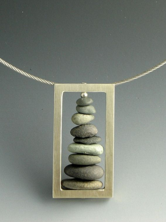 """Stacked Stone Pendant CustomMade by Gianna Bird Details Beach Stones & Silver Sterling silver cable Price range $260 - $290 Dimensions 3/4"""" x 1 1/2"""" pendant"""