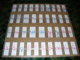 pour ranger les lettres mobiles: un panneau de médium + bandes de films plastique agrafées