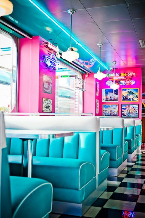 ambiance happy days au restaurant vintage tommys diner cafe - Blue Restaurant Ideas
