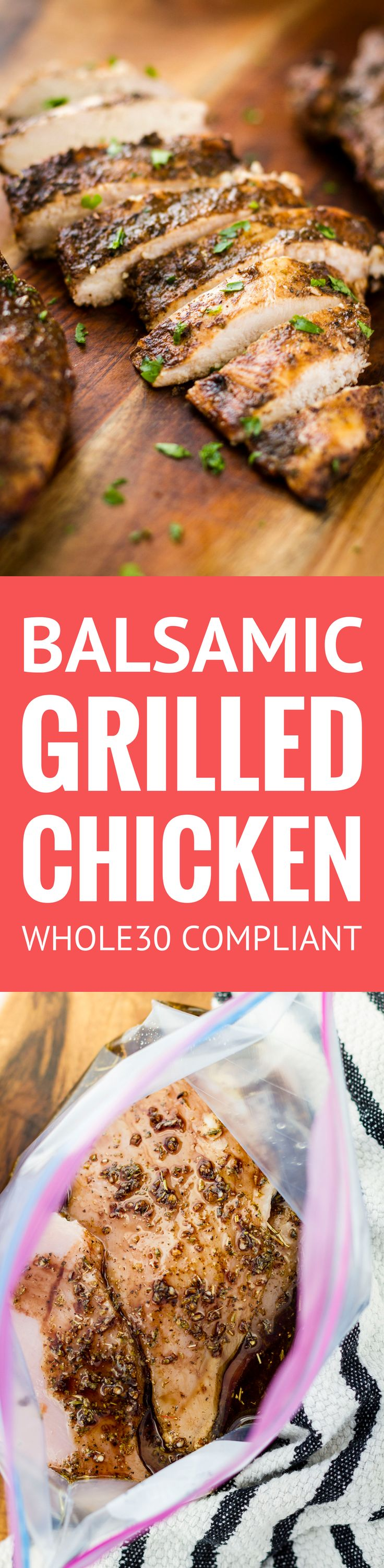 Juicy Balsamic Grilled Chicken -- this balsamic grilled chicken recipe makes the most juicy and succulent boneless skinless breasts EVER with just 4 ingredients and 30 minutes of marinating time! And it's Whole30 compliant…   balsamic grilled chicken marinade   healthy balsamic grilled chicken   whole30 balsamic grilled chicken   find the recipe on unsophisticook.com