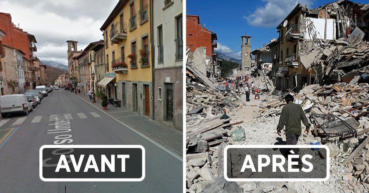 15 photos déchirantes avant et après montrent le ravage du séisme en Italie