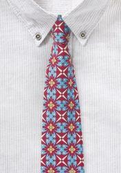 Türkis-rote Krawatte mit frischem Retro-Design günstig kaufen