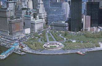 Aerial View of Castle Clinton in Lower Manhattan's West Battery Park